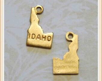 Idaho 12 pcs raw brass state charm ID