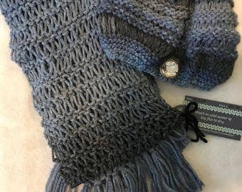 Shaded blue  scarf and hat