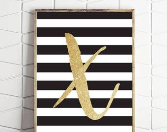80% OFF initial X print, letter X monogram, printable poster X, initial X art, X wall art, instant downloads, printable X art