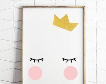 70% OFF SALE crown royal, gold crown, birthday crown, queen bee art, girls room decor, digital downloads, kawaii queen, sleepy eyes