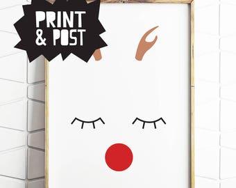 reindeer print, reindeer poster, christmas reindeer, reindeer minimal art, reindeer wall art