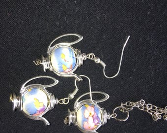 Teapot necklace and earring set