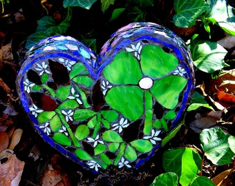 "Mosaic Heart, Irish Proverb, ""Believe"".  Mosaic Four Leaf Clover Heart, Mosaic Art, Mosaic Garden Art Four Leaf Clover, Irish Heart Mosaic"