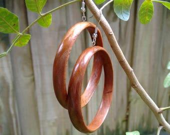 Cherry Wooden Hoop Earrings