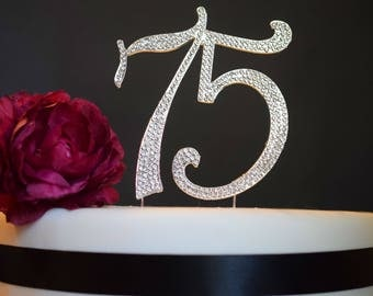 75 Rhinestone Cake Topper Premium Crystal Rhinestones - Monogram Number Seventy Five - 75th Birthday or Anniversary Party Decoration