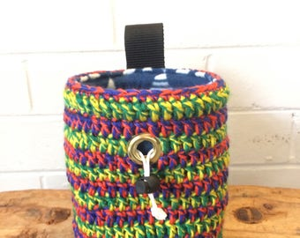 Handmade colourful crochet Striped Teepee Chalk Bag for rock climbing and bouldering, unique sewn gift for climber