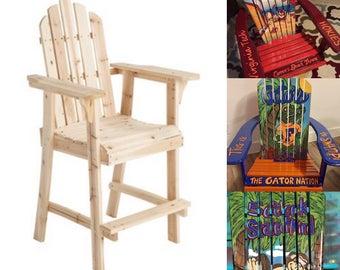 TALL LIFEGUARD Adirondack Chair   Custom Hand Painted, Margaritaville.  Sugar Skull. Unique Gift