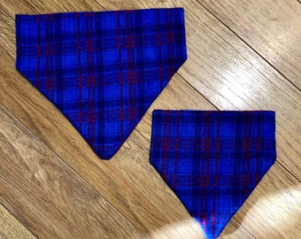 Blue and red flannel plaid dog bandana