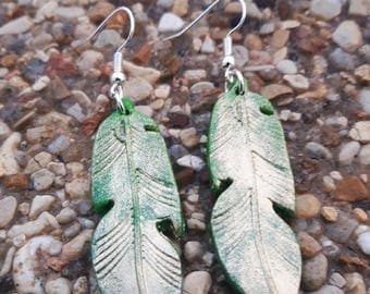 Green and gold leaf in polymer clay earrings