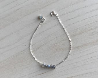 925 Sterling Silver Bracelet, Labradorite, Natural Gemstone, Blue Flash, Tiny, Subtle, Delicate, Stacking, Genuine, Rondelle, Chain, Beads