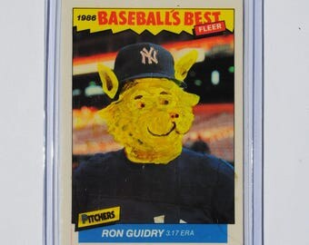 RON GUIDRY 1986 Hand Painted Vintage Altered Baseball Card