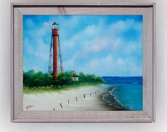 Sanibel Island FL Lighthouse Original painting oil on stretched canvas canvas, framed art FREE shipping