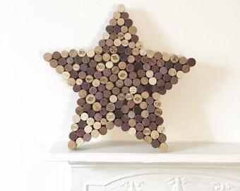 Recycled Wine Cork Memo Board - Star