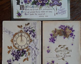 3 Beautiful Antique New Years Greeting Postcards With Purple Flowers
