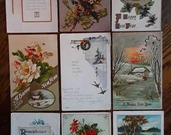 9 Nice Antique New Years Greetings Postcards Winsch Embossed Vintage Ephemera Lot
