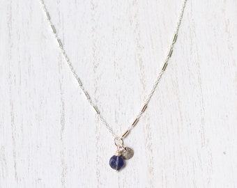 Dainty Silver Iolite Necklace