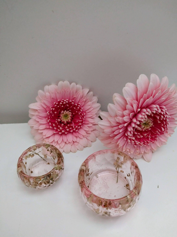 resin real flowers ring holders set of 2 wedding ring bowls flower