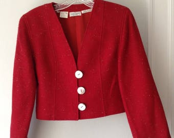 1980s Vintage Valentino Boutique Cropped Red Wool Jacket