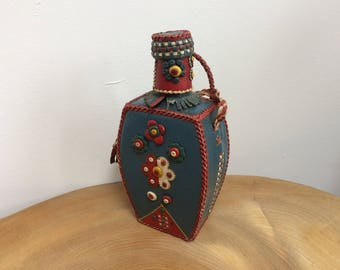 Vintage Hand Sewn Leather Covered Glass Bottle Flask, Decanter - folk art appliqué flowers, bright colours