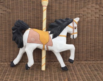 Paper mache painted white carousel horse