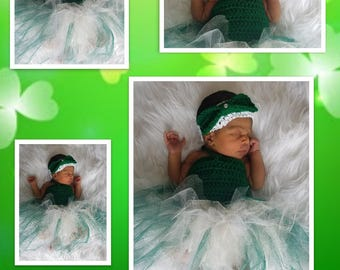 Newborn Girls' Green Tutu & Headband/Green Tutu Set/St Patrick's Day Girls' Outfit