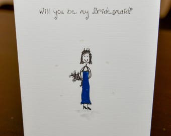 Will you be my Bridesmaid, Flowergirl, Bestman, Usher  Hand painted Cards