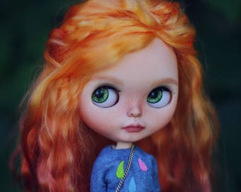 Ooak custom Blythe doll Playful Raindrops