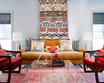 Bohemian rhapsody (designer handwoven kilim rug)