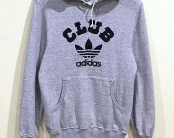 Rare!!! Vintage 90's Adidas Hoodie Adidas Club Big Logo Spellout Pullover Jumper Sweater Hip Hop Swag Sportwear