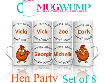 Hen Party Mugs. Hen Party Gifts. Gifts For Hens. Personalised Hen Gifts. Set of 8 Personalised Hen Party Mugs.