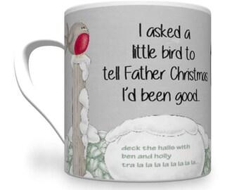 Cheeky Christmas Mug. Arthur brane robin Mug. Comical Christmas Mug.
