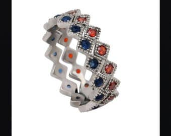 Stainless Steel Red & Blue Cubic Zirconia Stackable Rings