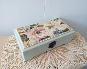 Сasket for money (moneybox) wooden, decorate flowers