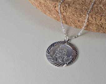 Sterling Silver, Large St. Christopher medal plane, train, boat and car necklace, everyday wear,