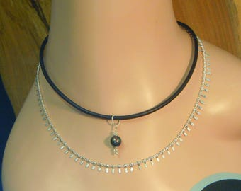 Necklace N102 Leather and Pearl