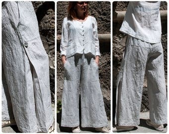 Loose Linen Skirt Pants with Elastic Waist and Two Pockets; Wide Leg Pants/Trousers; Available in 5 colors