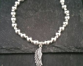 Genuine 925 Sterling Silver Stackable Ball Beaded Elastic Stretch Guardian Angel Feather Wing Pendant Charm Bracelet Gift Idea