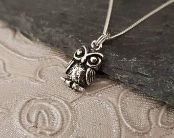 Genuine 925 Sterling Silver Wise Owl Bird Design Unique Pendant Necklace Gift