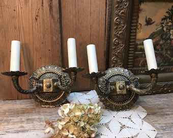 Double Arm Wall Sconces/Set of Two/Made in Spain/Electric/Restoration/Farmhouse Decor
