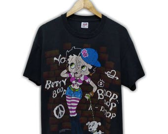 Hot Sale!!! Rare Vintage 90s BETTY BOOP Cartoon Fullprint T-Shirt Hip Hop Skate Swag Large Size