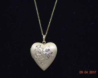 """Vintage Gold Filled GF 1/20 14K Necklace Heart Locket Pendant Etched """"I Love You"""""""