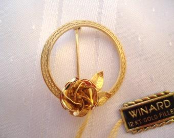 Vintage Winard 12KT Gold Pin.  Rose Pin/ Brooch with Tag