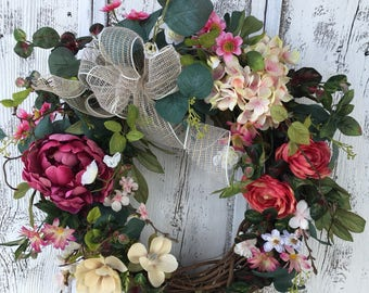 A Spring Bright Pink and Cream Door Wreath, Summer Wreath, Door Hanger, Grapevine Wreath, Wall Wreath, Fireplace Wreath, Farmhouse Wreath,