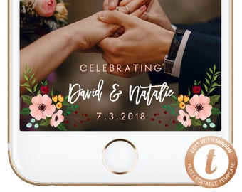INSTANT DOWNLOAD Snapchat Geofilter Wedding Snapchat Geofilter Wedding Snapchat Filter Wedding Pink Flowers Templett WD02