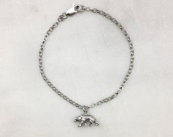 Tiny Solid Silver Grizzly Bear Bracelet