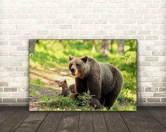 Bear with Cubs Canvas Print Art