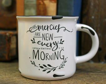 Ceramic Campfire Mug / 15oz Coffee Mugs /Holiday / Stocking Stuffer / Coffee/Tea Mug/ Christian Gift/ Christmas/ Bible Verse/ White Mug