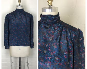 Vintage 80's does victorian floral  blouse by Phrophecy / blue / long sleeve / Size medium or large
