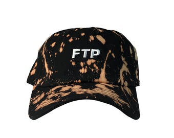 Custom FTP Acid Wash Dad Hat, Hypebeast Style Dad Hat, Black Low Profile Baseball Cap, Tumblr Hat, Streetwear Design Dad Hats Caps