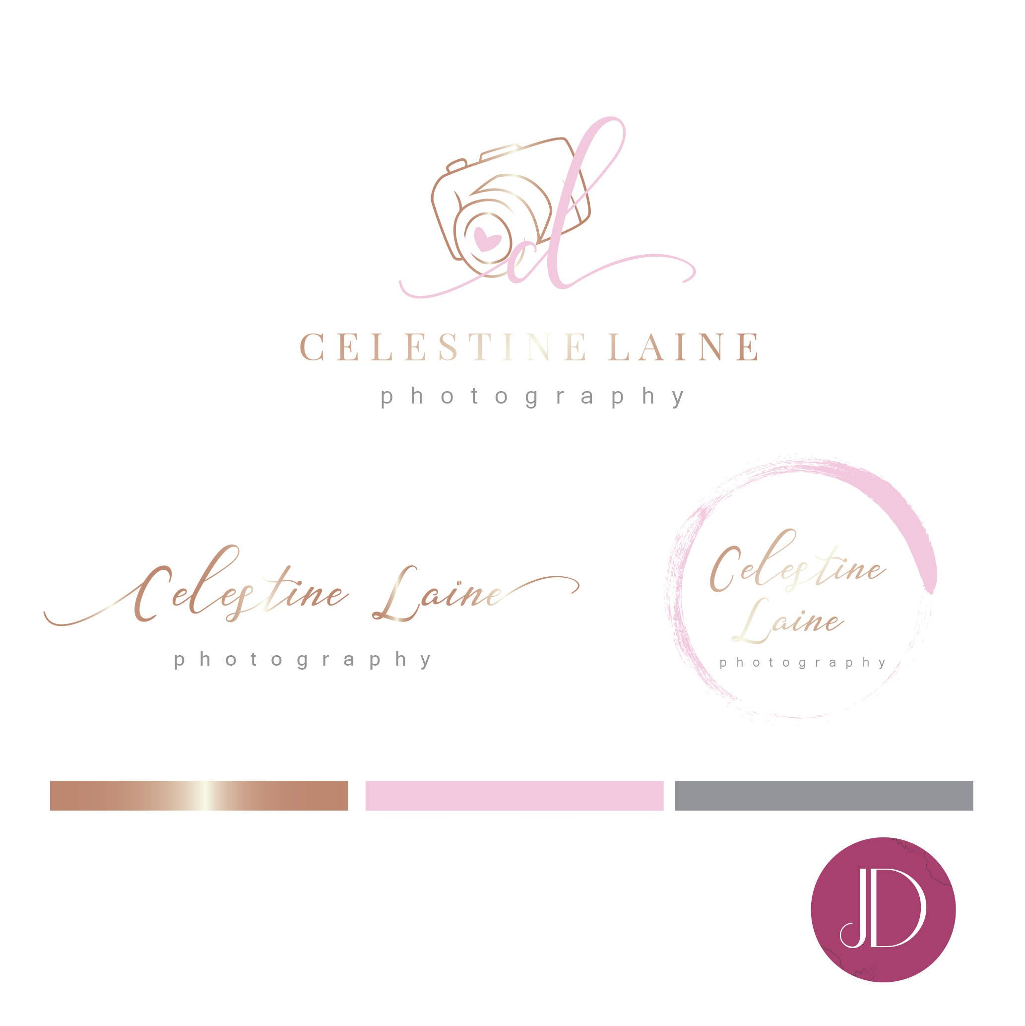 Branding kit logo design photography calligraphy pink